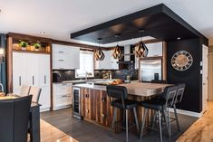 Wood Kitchen Cabinets – Lacquered Cherry, Natural Calico Walnut, Quartz – Simard Kitchen and Bathroom by Kitchen Interior, Kitchen Decor, Kitchen Design, Kitchen Ideas, Kitchen Board, New Kitchen, Cherry Kitchen, Wooden Kitchen Cabinets, Modern Condo