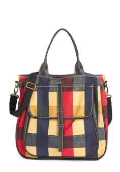 Just Go With It Tote. Traveling from city to city is made more stylish and convenient when accompanied by this plaid crossbody bag from Fred  Basha! #multi #modcloth