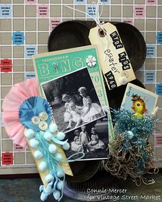 Fun photo display using a vintage muffin tin and the Retro Easter kit!