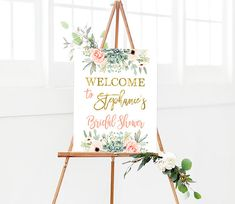 Succulent welcome sign, Bridal shower succulent welcome sign