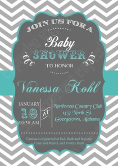 DIY Grey teal chevron Baby Shower PRINTABLE by CupcakeExpress