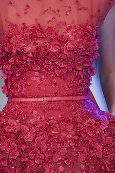 Dainty red flowers at Elie Saab Haute Couture - see more details, details, details here!