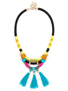 A multihued corded statement is beach ready in neon blues and yellows, with fun flossy fringe. Due to the hand-wrapped nature of the piece, appearance may vary.