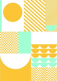 Sunny yellow and mint geometric pattern. | Textile Design; Graphic: Illustration: Print: Pattern | MINTY WARES | / VIA: SUZANNE CLEO ANTONELLI : Photo