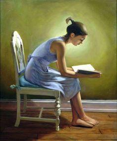 Menina lendo Jahaziel Minor (EUA, contemporânea) óleo sobre cartão