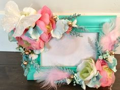 Boho Teal,Pink and Gold Frame 4x6,Coachella,  baby shower, wedding, nursery, shabby chic, girl room, tea party, secret garden, pow wow party by Rusticredoo on Etsy https://www.etsy.com/listing/499674022/boho-tealpink-and-gold-frame