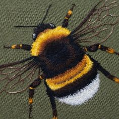 """cafeinevitable: """" Bee by Emillie Ferris hand embroidery """" Diy Embroidery Patterns, Butterfly Embroidery, Embroidery Hoop Art, Ribbon Embroidery, Cross Stitch Embroidery, Sewing Art, Embroidery Techniques, Textile Art, Harris Tweed"""