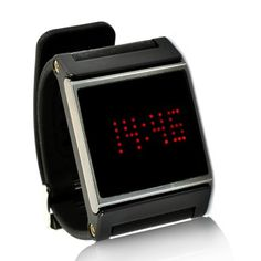 Red LED Wrist Watch - Black Strap, Touch Screen, Time + Date chinavasion.com