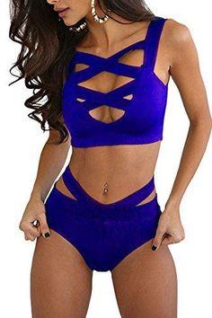 Prograce Women's Sexy Criss Cross High Waisted Bandage 2PCS Bikini Set 2XL Sapphire Blue