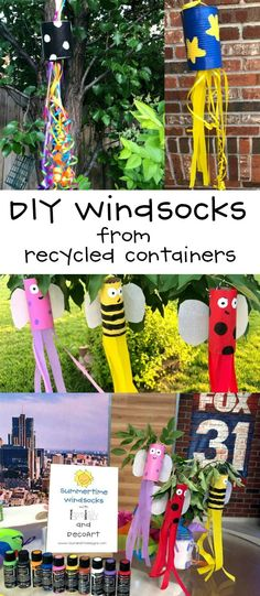 DIY Windsocks from Recycled Containers Craft Project Using Toilet Paper Tubes, Tin Cans and Jars bugs 5 Min Crafts, Tin Can Crafts, Fun Crafts For Kids, Preschool Crafts, Art For Kids, Diy Crafts, Kid Art, Kids Fun, Recycle Cans