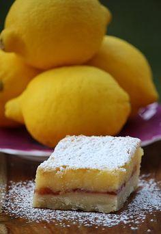 Brandy's Baking: Lemon Raspberry Bars oh my yes! these will be dessert tonight! Lemon Desserts, Lemon Recipes, Just Desserts, Sweet Recipes, Delicious Desserts, Yummy Food, Lemon Raspberry Bars, Lemon Bars, Raspberry Preserves