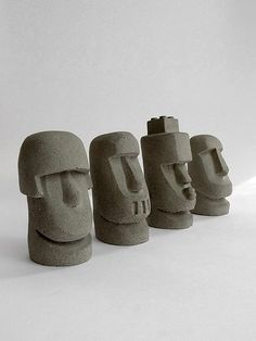 Boulders like a small decorations Cement products, a set of four 6.5 to 7.5 cm in height ★ cement handmade products, there are concrete and unique r...
