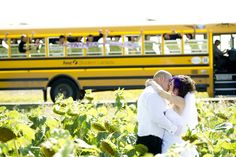 Rent a big yellow school bus for your wedding party