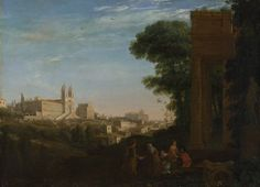 Claude: 'A View in Rome', 1632. The painting combines an accurate view of a part of Rome, on the left, with an imaginary ruin, on the right. On the left is the Convento del Sacro Cuore (Convent of the Sacred Heart), and the church attached to it is the Trinità de' Monti. These buildings are at the top of what is today called the Spanish Steps, which were not then built. In the distance is the pope's summer palace on the Quirinal.  TNG, London.