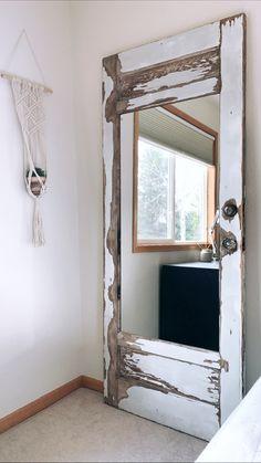 Farm Door, Cannon Falls, Mirror Makeover, Home Salon, Cool Mirrors, Standing Mirror, Bridal Suite, Mirror Ideas, Old Doors