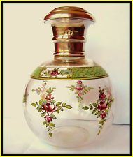 EXTREMELY RARE ART DECO SOLID SILVER FLOWERS ENAMEL GLASS SCENT BOTTLE 1918  I am pretty sure my antagonist would have something like this in her collection -- or at least be trying to obtain it.