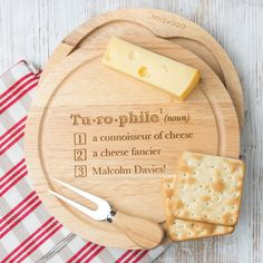 Personalised dictionary style cheese board set (¥12,475) ❤ liked on Polyvore featuring home, kitchen & dining, serveware, mothers day gift set, engraved cheese board and hard cheese knife