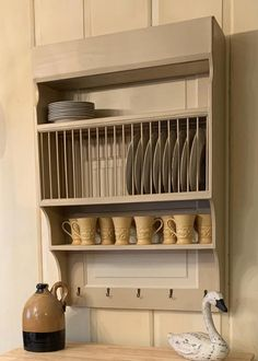 Customize this Large Wood Wall Mounted Farmhouse Plate Rack Cabinet Plate Rack, Plate Racks In Kitchen, Plate Rack Wall, Plate Shelves, Plate Storage, Wooden Plate Rack, Wooden Plates, Hanging Plates, Plates On Wall