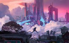 Fu Chenqi, cyber, cyberpunk, futuristic, futuristic city, jumping, parkour, science fiction, artwork, cityscape | 1920x1197 Wallpaper - wallhaven.cc Cyberpunk 2077, Ville Cyberpunk, Cyberpunk City, Futuristic City, Sci Fi City, Cyberpunk Aesthetic, 8bit Art, Environment Concept, Parkour