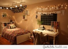 teen room | Tumblr- love the fairy lights Easy to do and brightens up ANY room <3