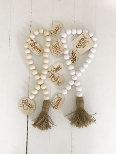 How To Make Wood Bead Garland With Tassels Wood bead garland! The BoHo beads are like accessor Arts And Crafts For Adults, Arts And Crafts House, Crafts For Girls, Crafts To Make, Diy Crafts, Paper Crafts, Arts And Crafts Storage, Arts And Crafts Furniture, Wood Bead Garland