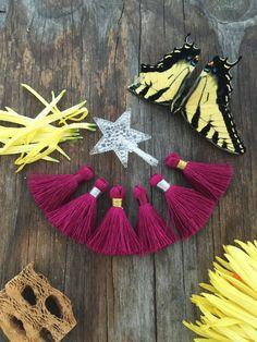 "Purple Berry: 1.75"" Small Silk Luxe Tassels, 2pcs, Handmade Tassels for Jewelry Making, Short Tassels / Choose your Binding / Supplies"