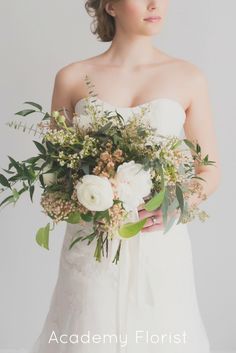 White and Green Wedding bouquet - this would be a pretty concept for a centerpiece if going formal/antique