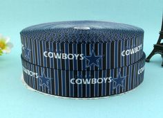 "1"" Blue Dallas Grosgrain Printed Ribbon 10 yards Free Shipping for HairBow & DIY #AVA"