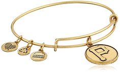 """Alex and Ani Pittsburgh Pirates Cap Logo Expandable Rafaelian Gold Bangle Bracelet. Expandable wire bangle featuring round Pittsburgh Pirates logo coin and three smaller charms. Charm: 1"""" L x 0.75"""" W. Made in the USA."""