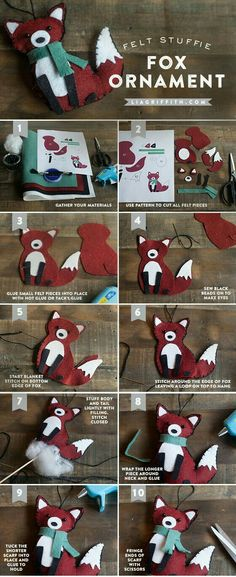 DIY Felt Fox Ornament Tutorial - Lia Griffith by jojablueberry Fox Ornaments, Felt Christmas Ornaments, Christmas Crafts, Christmas Decorations, Xmas, Christmas Tree, Woodland Christmas, Ornament Crafts, Christmas Nativity