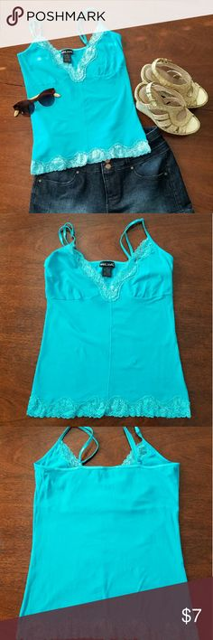 Wet Seal Teal Blue Lace Top This teal blue spaghetti strap top with beautiful lace is like new! Perfect for summer weather! Size M. Wet Seal Tops Tank Tops