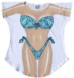 Teal Flowers Fun2Wear Cotton Cover-Ups for Women Swimwear Bikini Nightie T- Shirts 9043c3452