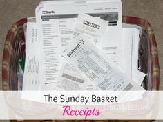 The Sunday Basket: Week 11 - Receipts - Organize 365 Receipt Organization, Organizing Paperwork, Clutter Organization, Home Office Organization, Paper Organization, Organizing Tips, Planners, Paper Clutter, The Ranch