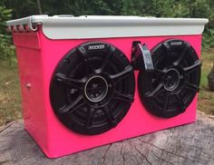 """Rugged, durable, badass stereo in a hot pink finish.  Features include:  (2) 4"""" Kicker speakers 20w amplifier 40hr rechargeable battery Carbon fiber toggle switch with blue led light 3.5mm aux jack for connection to any phone, iPod, tablet, mp3 player, laptop etc.  * auxiliary cable, iPod, and decals not included"""