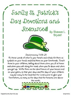 Another free family seasonal devotion pack!  This one centers on St. Patrick and his willingness to obey God and his heart for missions.