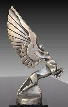 French art deco bronze hood ornament depicting female winged centaur, by Darel, 1925