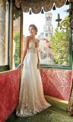 solo merav wedding dress 2016 bridal gown with exquisite hand embellished sheer illusion straps sexy bodice celestia full length view lace trim skirt