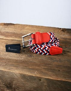 Anderson's Belts Woven Belt - White/Navy/Red