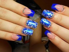 #nails #french #blue #acrylicpaint