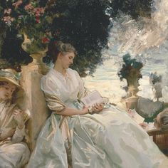 """Throughout his career, the celebrated American painter John Singer Sargent created exceptional portraits of artists, writers, actors, dancers, and musicians, many of whom were his close friends. See over ninety of these portraits in """"Sargent: Portraits of Artists and Friends,"""" on view through October 4. John Singer Sargent (American, 1856–1925). In a Garden, Corfu, 1909. Private Collection. #metmuseum #MetSargent #JohnSingerSargent"""