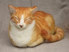 Felted sculpture. Ginger Cat by Ainigmati Studio.