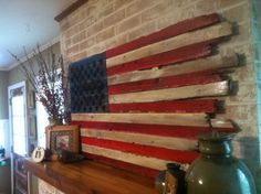 Wooden frayed American flag with branded stars by ArtofPurpose, $85.00