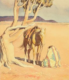 Maynard Dixon,   Indian with a Horse, 1942                watercolor on paper       The Coeur d'Alene Art Auction