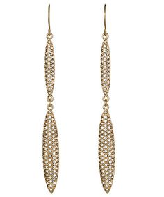 ABS Goldtone Pave Double-Drop Earrings