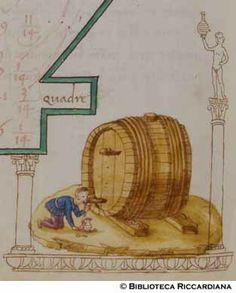 Ricc. 2669, FILIPPO CALANDRI, Trattato di aritmetica Sec. XV, fine; Firenze; bottega di Boccardino il vecchio.  Uomo beve da una botte di vino, c. 96v