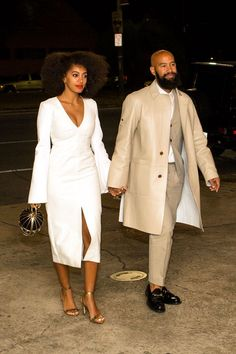 All The Outfits From Solange's Epic Wedding Weekend #refinery29  http://www.refinery29.com/2014/11/78102/solange-knowles-wedding-outfits#slide-1  For the rehearsal dinner, Solange choose a bell-sleeved, Ellery number, golden Loeffler Randall heels, and Lady Grey earrings....