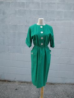1970s grass GREEN darling vintage dress by myrtledovelove on Etsy, $34.00