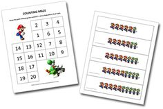 Math resources (like this Mario Math printable) for pre-k