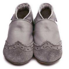 Chaussons en cuir souple Inch Blue Brogue Grey