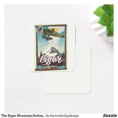 The Eiger Mountain,Switzerland travel poster Square Business Card